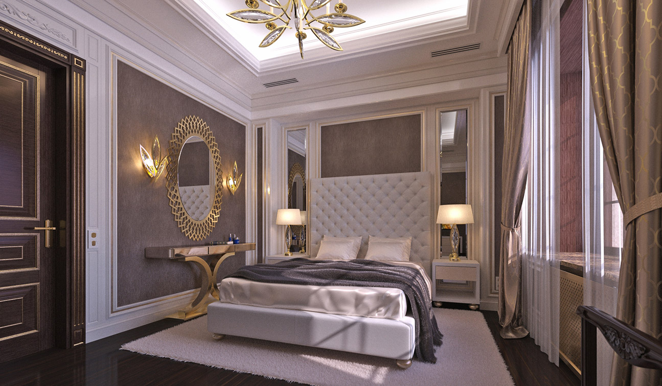 Elegant Guest Bedroom interior in Art Deco style - view #2