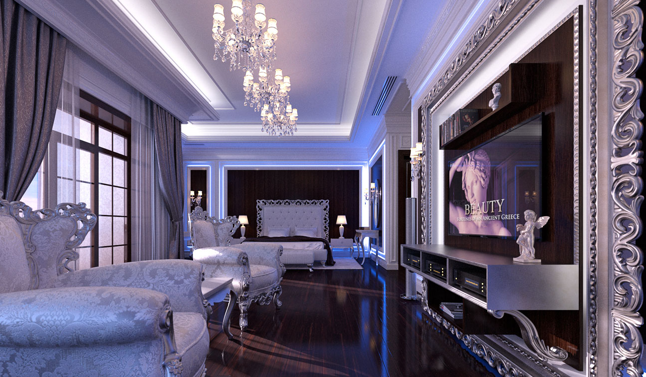 Glamour Bedroom interior in Luxury Neoclassical style image01-1