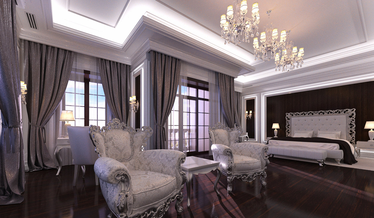 Glamour Bedroom interior in Luxury Neoclassical style image02