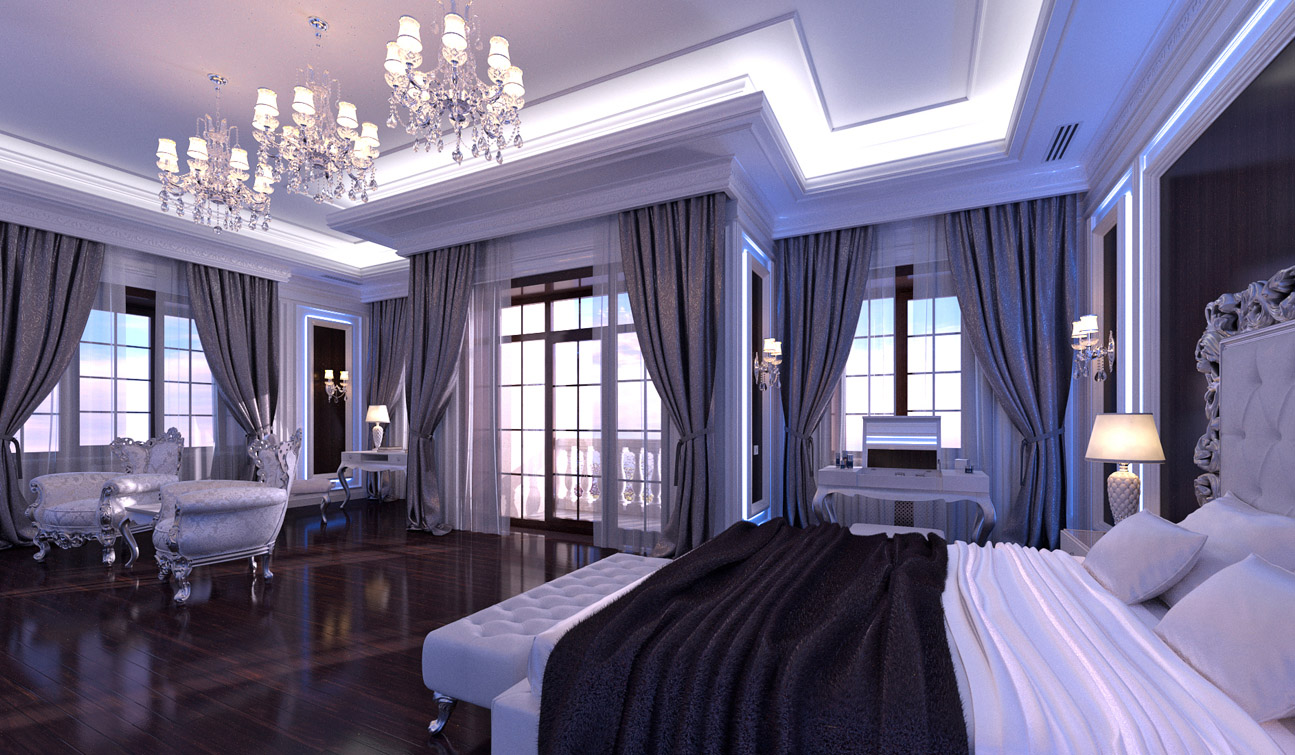 Glamour Bedroom interior in Luxury Neoclassical style image03-1