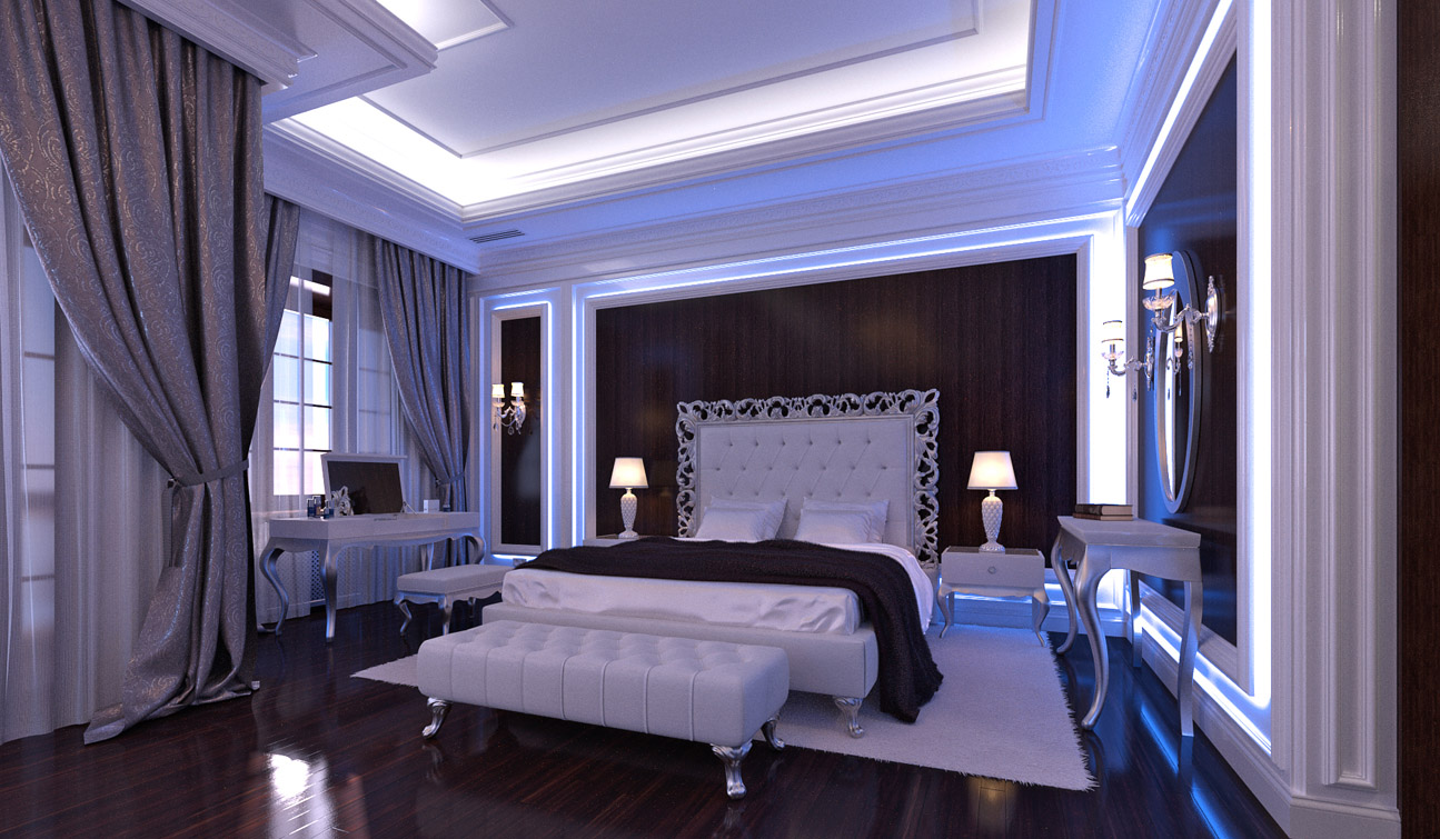 Glamour Bedroom interior in Luxury Neoclassical style image05-1