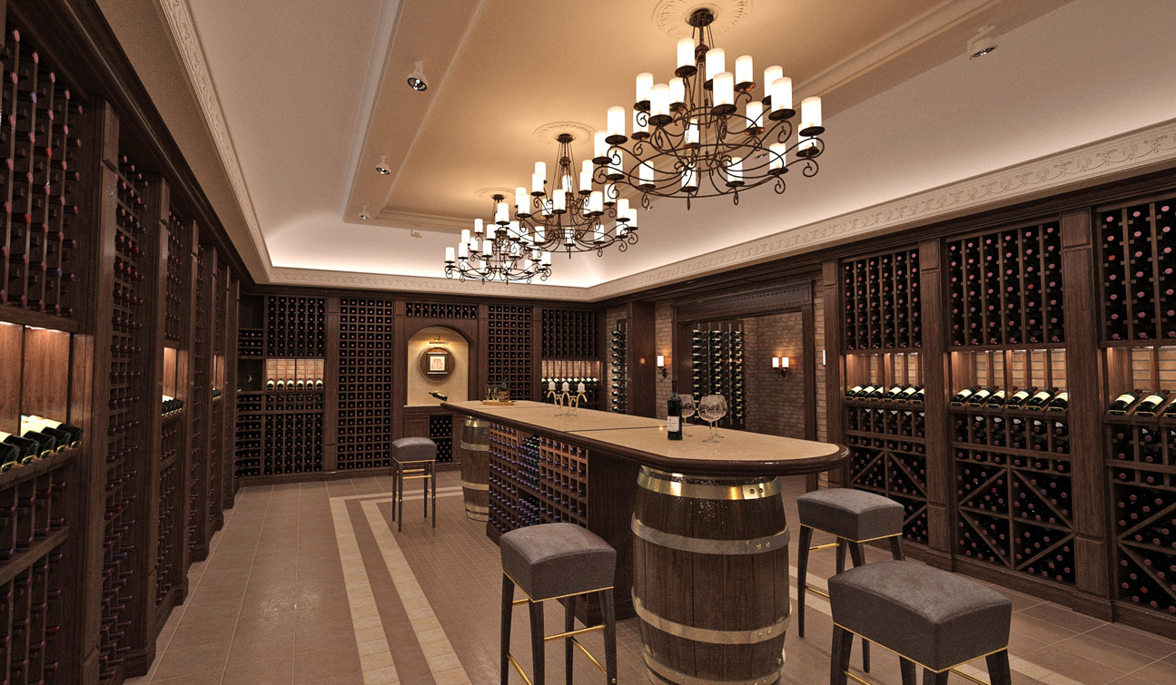 Interior design of a wine cellar in the private residence image01