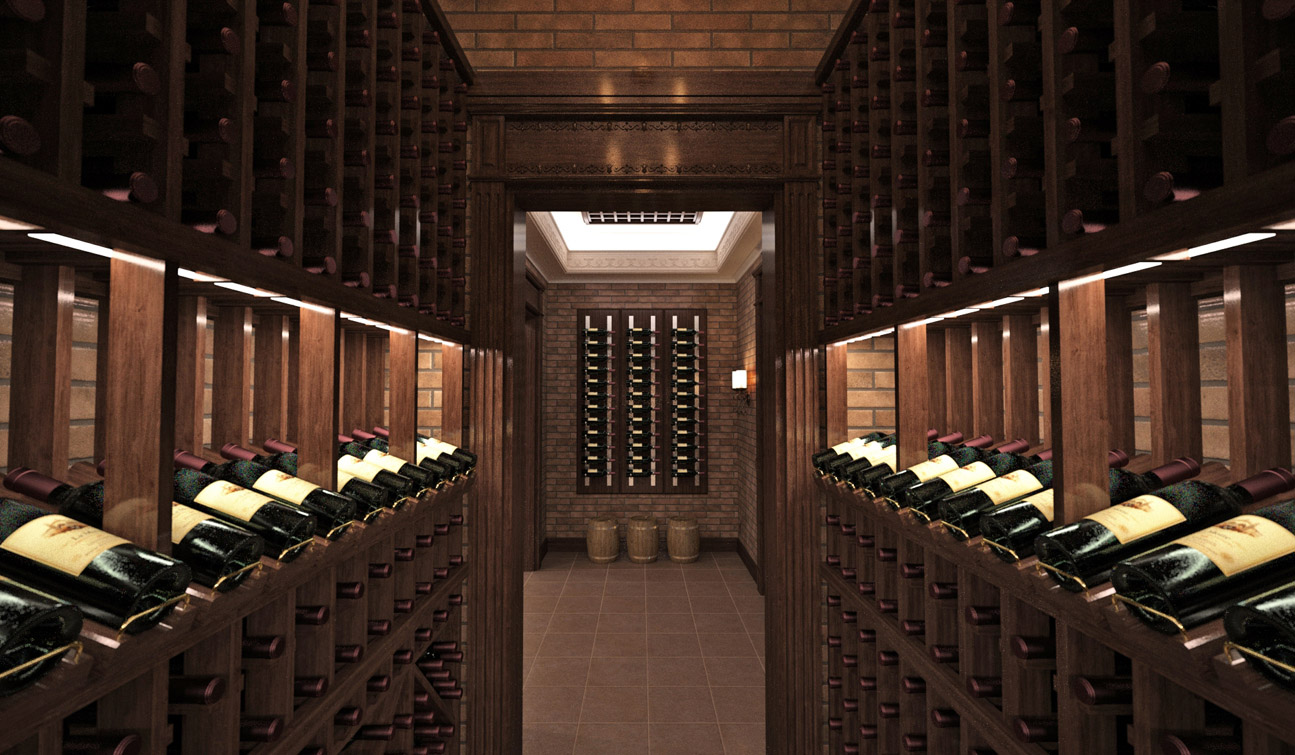 Interior design of a wine cellar in the private residence image02
