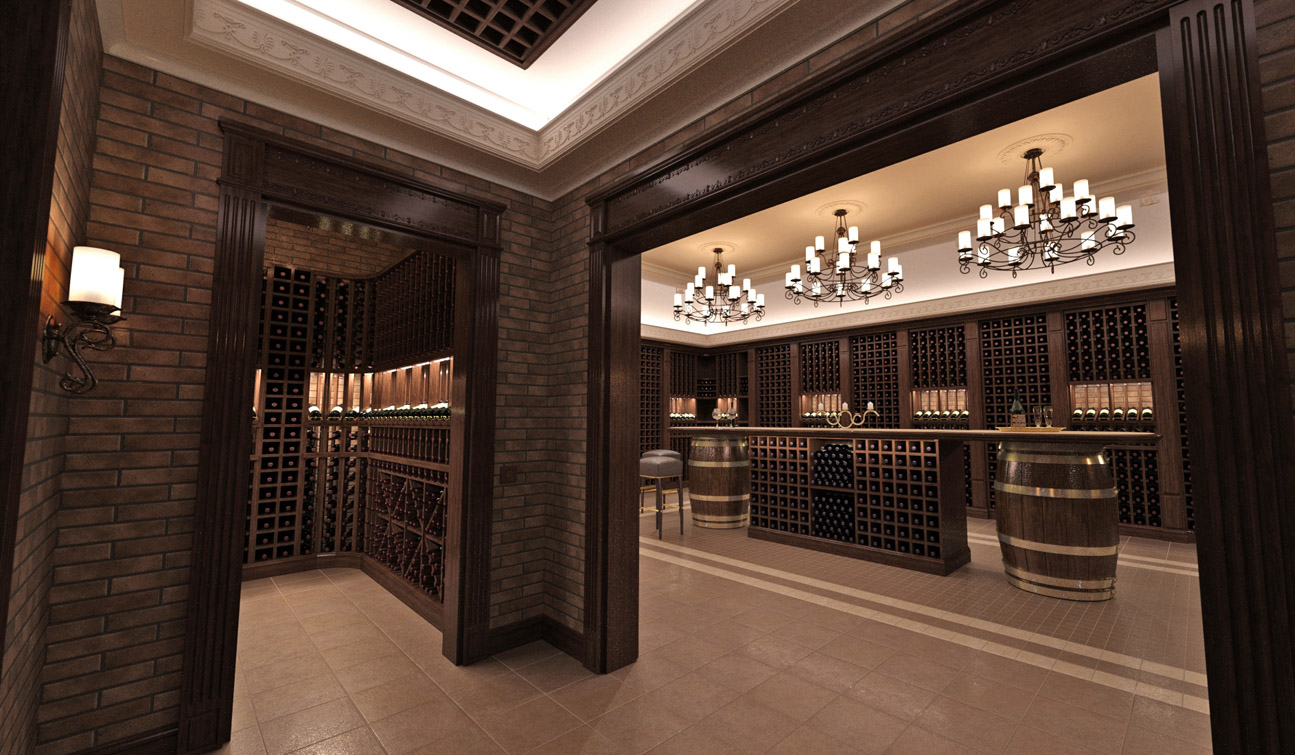 Interior design of a wine cellar in the private residence image03