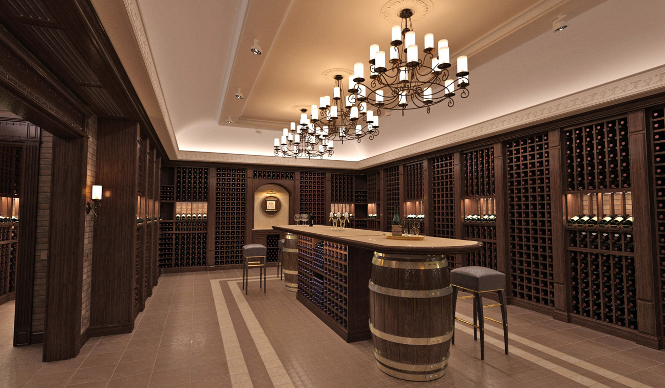 Interior design of a wine cellar in the private residence image04