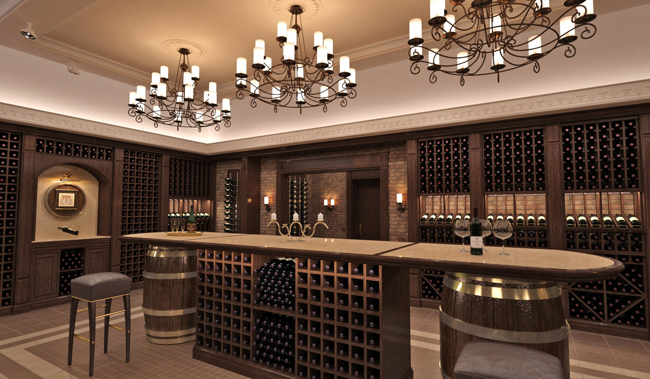 Interior design of a wine cellar in the private residence image05