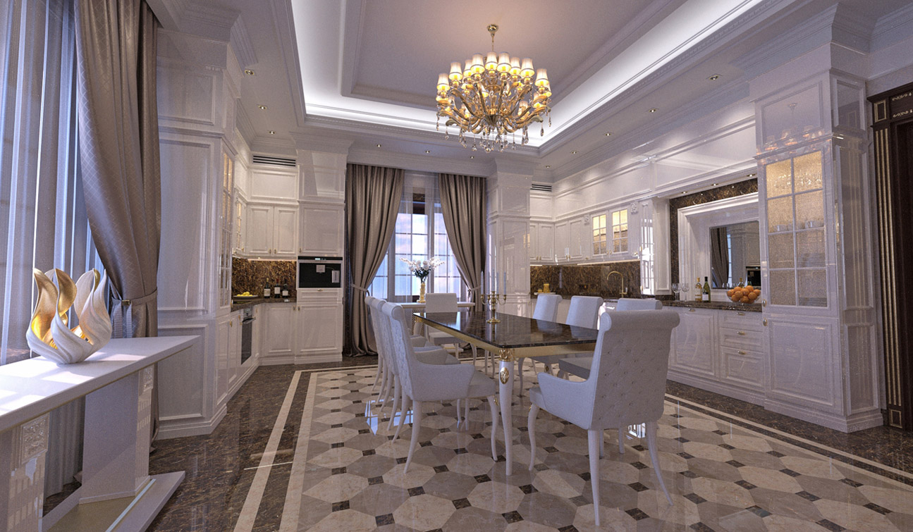 Interior design of classic style family dining room image02