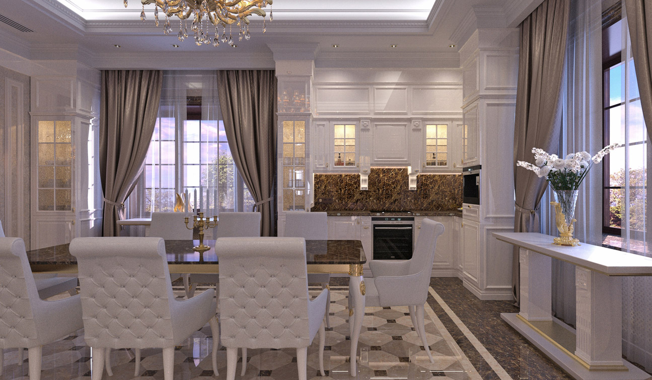 Interior design of classic style family dining room image05