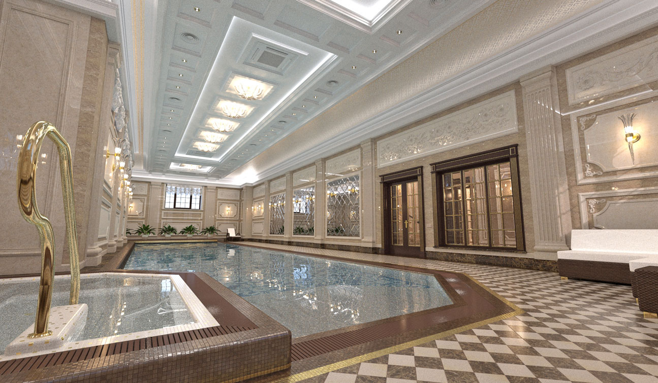 Private Swimming Pool interior in Luxury Home Spa
