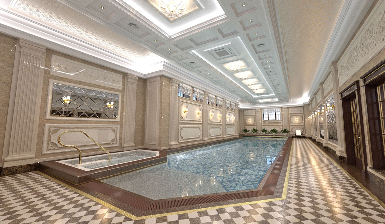 Private Swimming Pool interior in Luxury Home Spa image02
