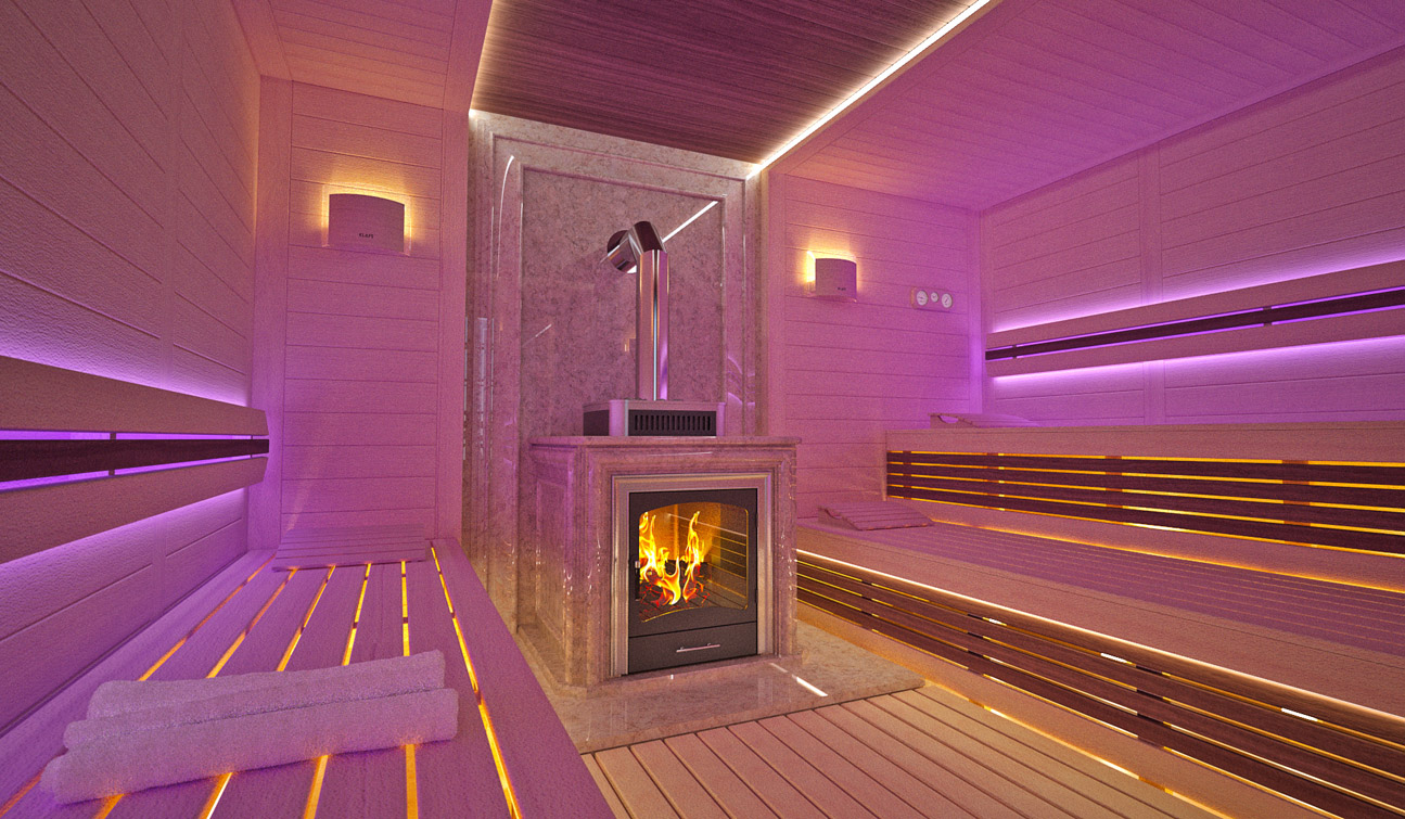 Sauna interior in Luxury Home Spa image02