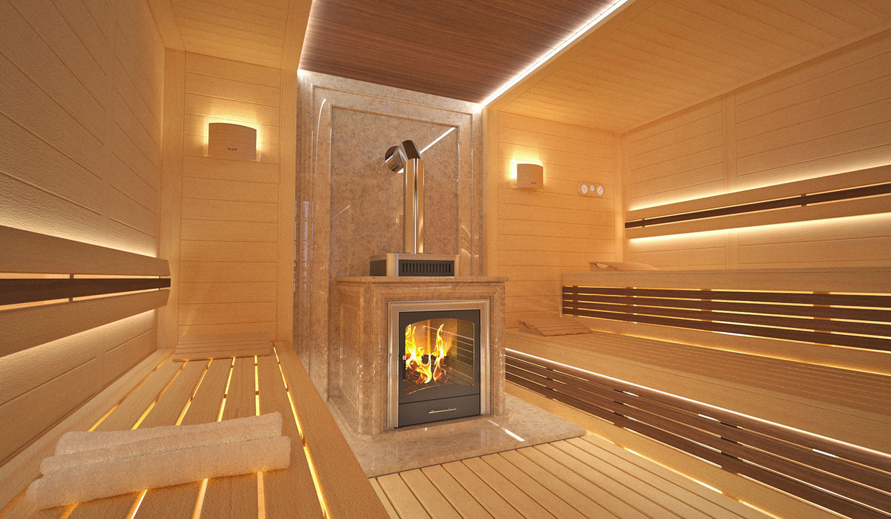 Sauna interior in Luxury Home Spa image03
