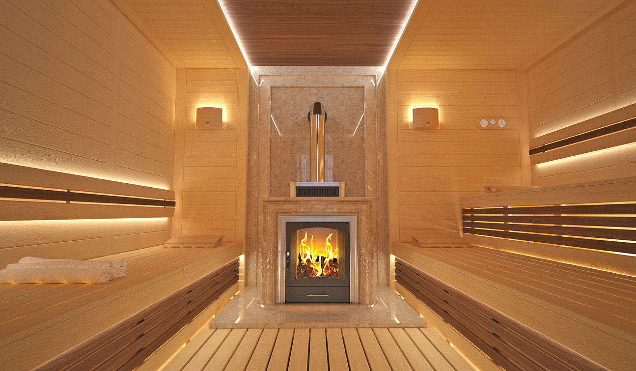 Sauna interior in Luxury Home Spa image04