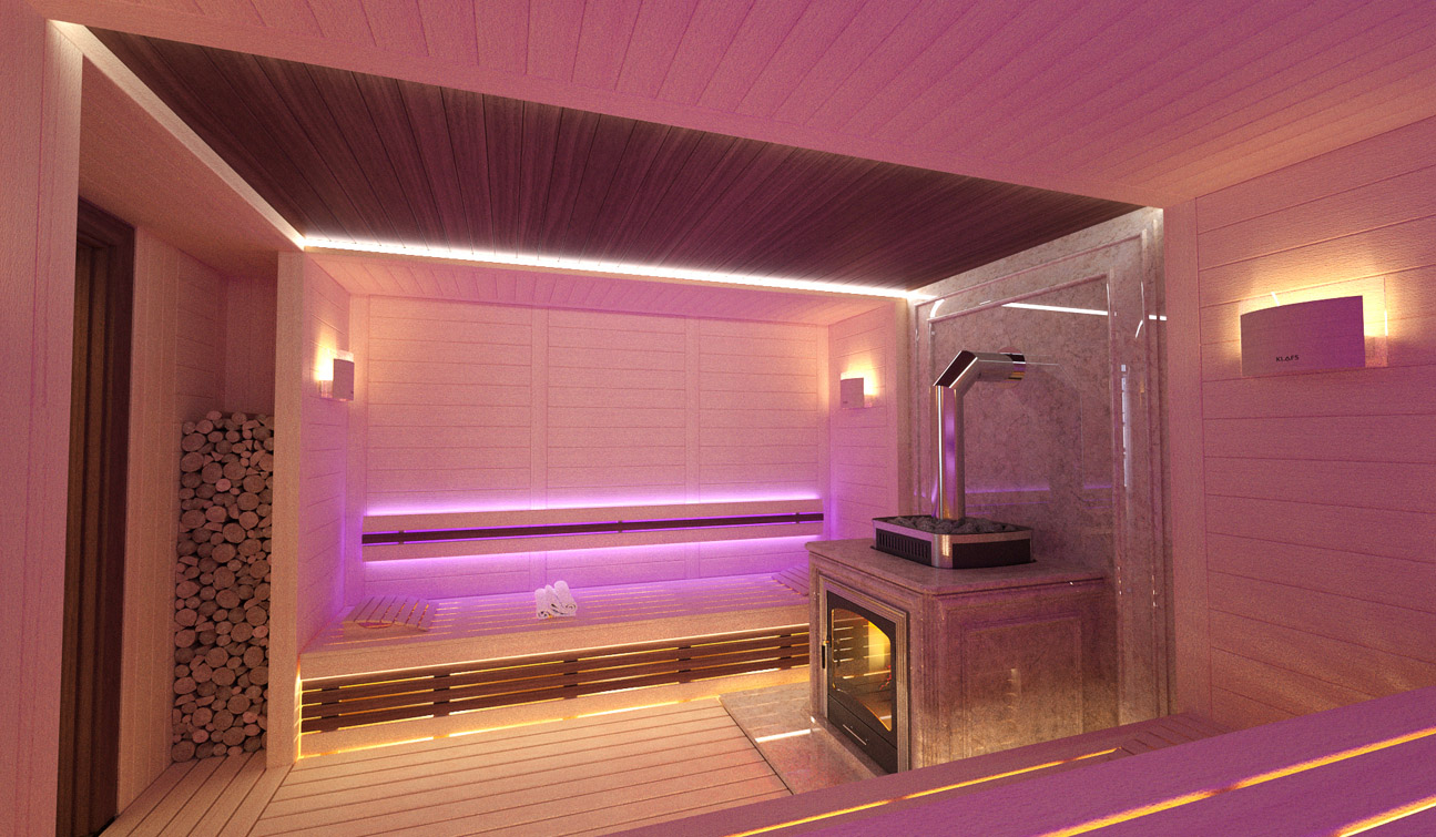 Sauna interior in Luxury Home Spa image06