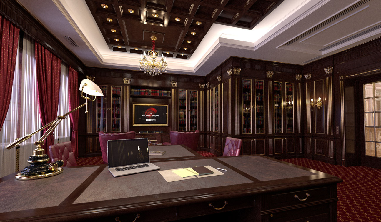 Study Room with Home Library interior in classic style image04