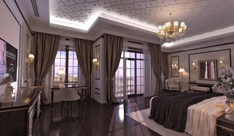 Классический дизайн интерьера спальни в традиционном стиле