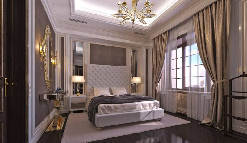 Elegant and Classy Guest Bedroom interior in Art Deco style