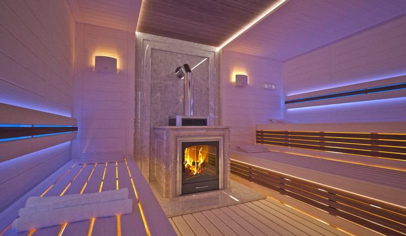 Impressive first-class Sauna interior in Luxury Home Spa